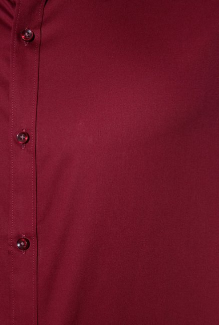 Van Heusen Maroon Band Collar Shirt