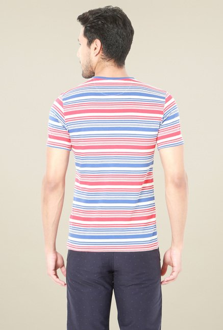 Van Heusen Blue & Red Crew Neck T-Shirt