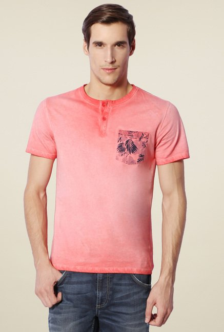 Van Heusen Orange Henley T-Shirt