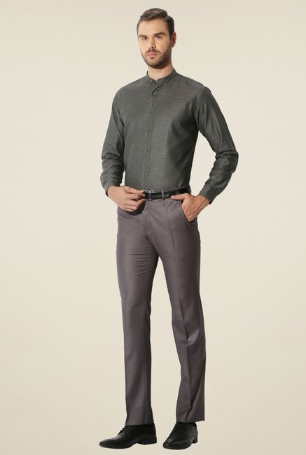 Van Heusen Dark Grey Cotton Shirt