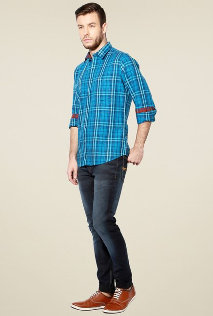 Van Heusen Aqua Blue Full Sleeves Shirt