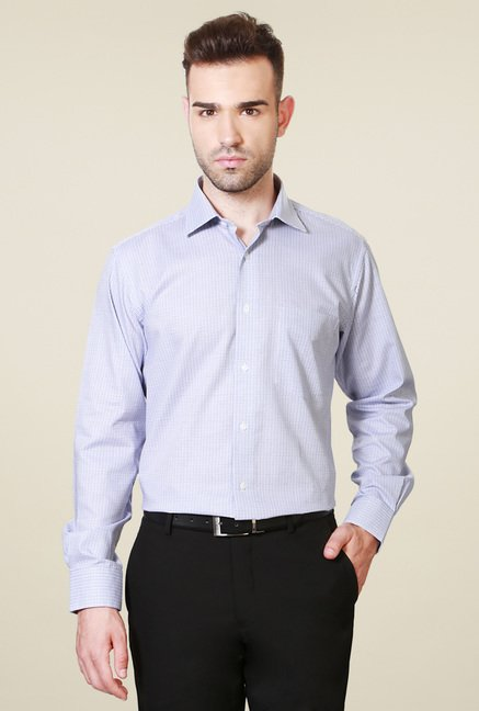 Van Heusen White Cotton Checks Shirt