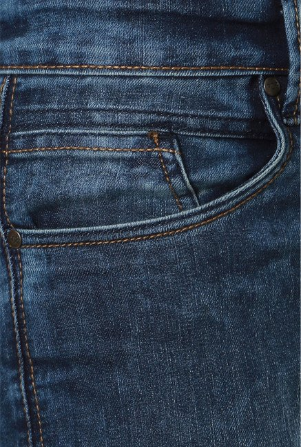 People Dark Blue Slim Fit Jeans