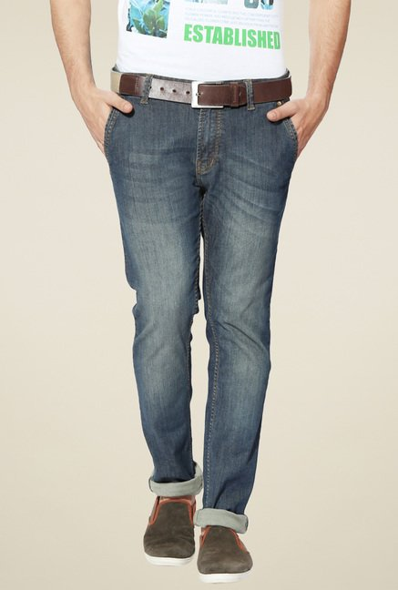 People Stone Blue Heavily Washed Jeans