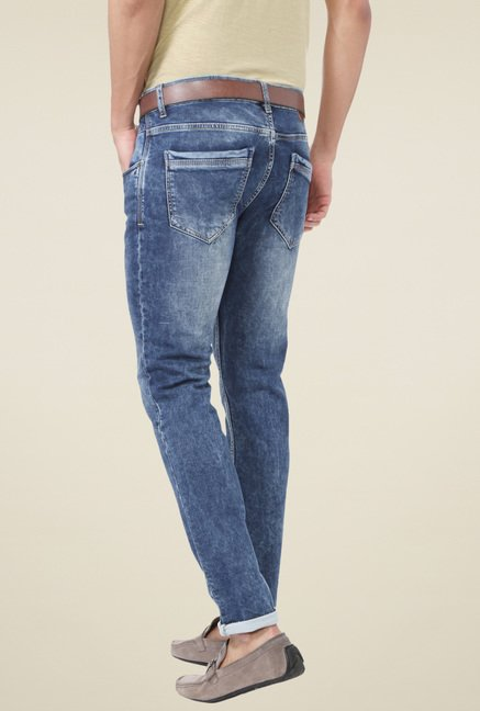 People Blue Heavily Washed Slim Fit Jeans