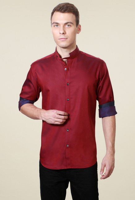 Van Heusen Burgundy Slim Fit Cotton Shirt