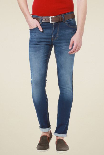 People Dark Blue Heavily Washed Jeans