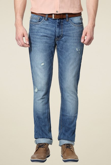 Van Heusen Blue Comfort Fit Cotton Jeans