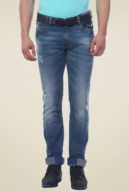 Van Heusen Blue Lightly Washed Ripped Jeans