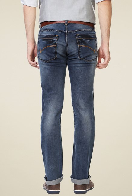 Van Heusen Denim Blue Heavily Washed Mid Rise Jeans