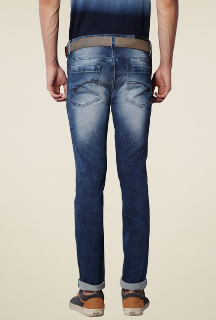 Van Heusen Space Blue Heavily Washed Ultra Slim Fit Jeans