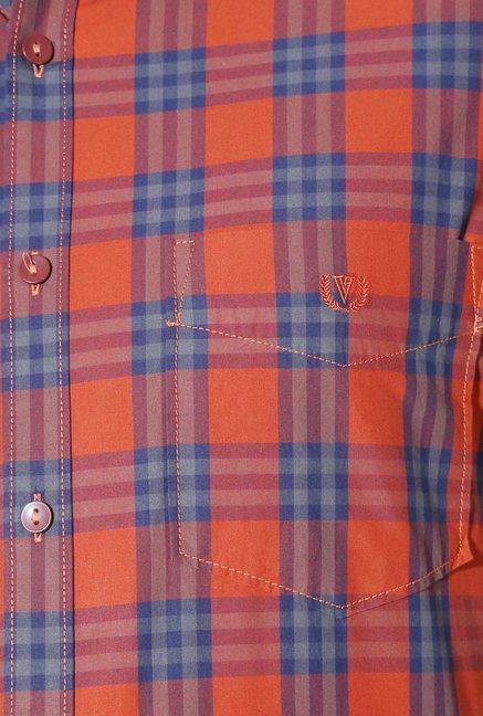 Van Heusen Orange Checks Shirt