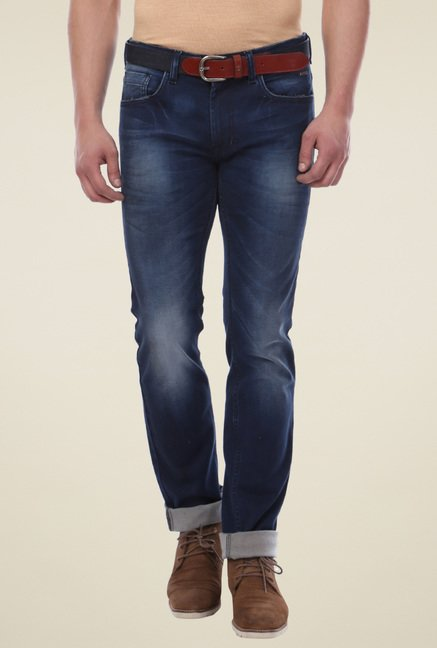 Van Heusen Navy Mid Rise Heavily Washed Jeans