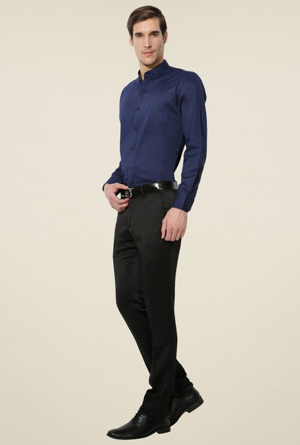 Van Heusen Navy Band Collar Shirt
