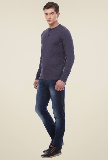 Van Heusen Navy Full Sleeves T-Shirt