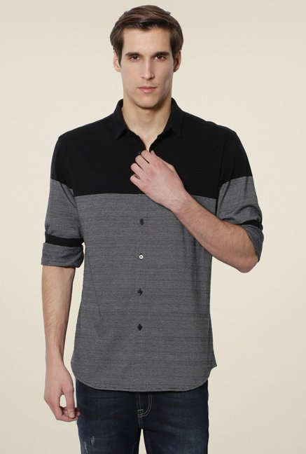 Van Heusen Black & Dark Grey Full Sleeves Slim Fit Shirt