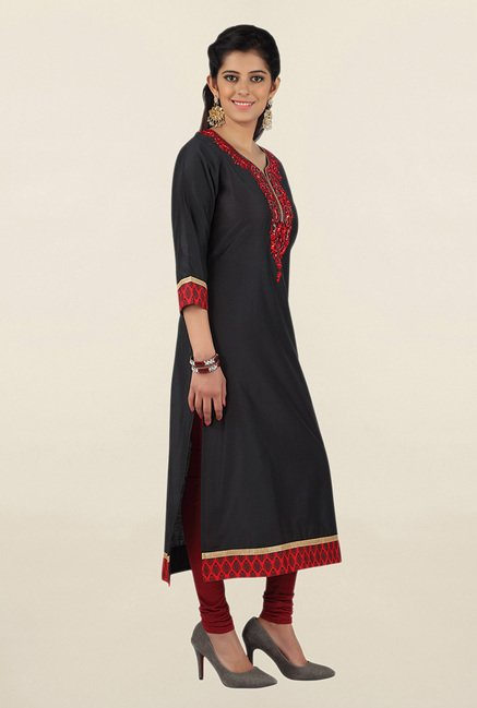 Jashn Black Embroidered Cotton Kurta
