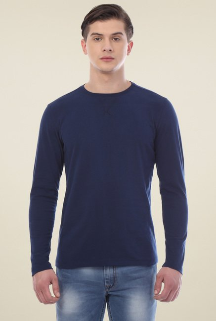 Van Heusen Navy Regular Fit Crew Neck T-Shirt