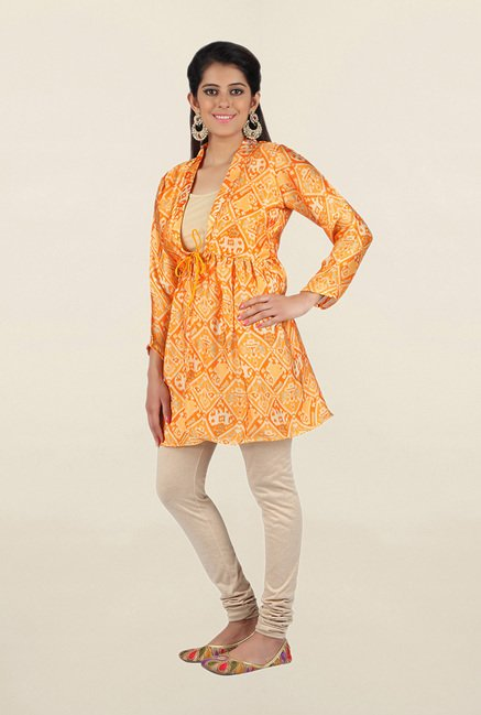 Jashn Orange Printed Satin Tunic