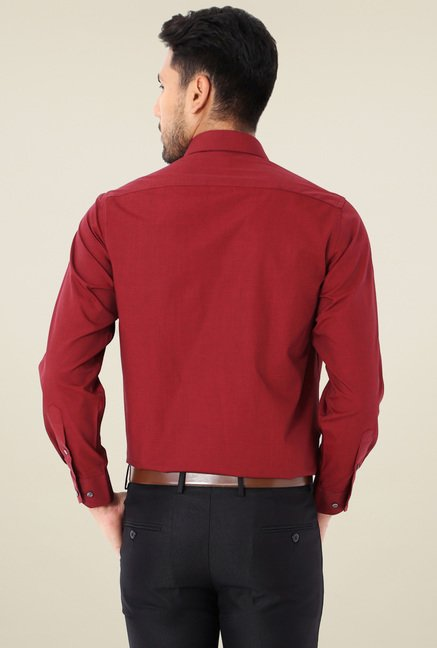 Van Heusen Maroon Full Sleeves Cotton Shirt