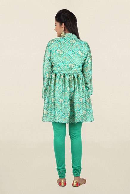 Jashn Green Printed Satin Tunic