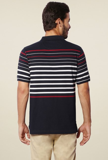 Van Heusen Navy Striped Slim Fit Polo T-Shirt