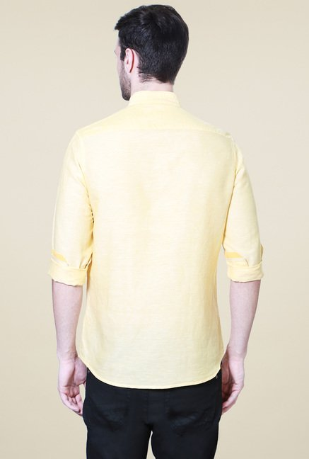 Van Heusen Yellow Full Sleeves Solid Shirt