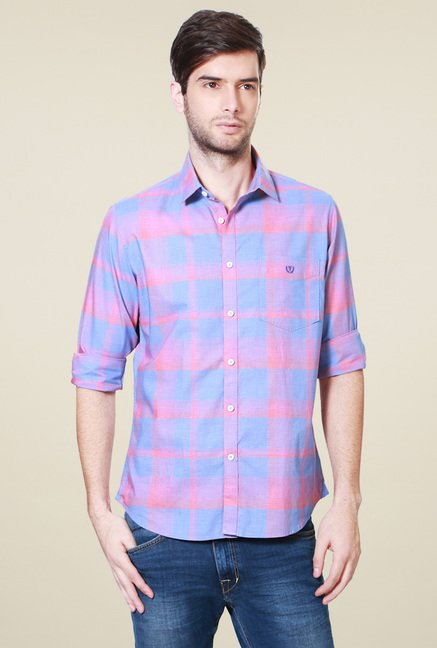 Van Heusen Sky Blue Checks Cotton Shirt