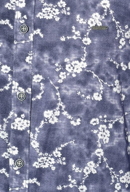 Van Heusen Stone Blue Printed Cotton Shirt