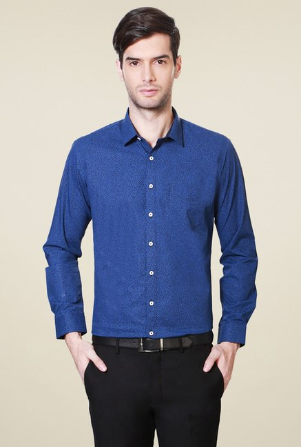 Van Heusen Royal Blue Printed Cotton Shirt