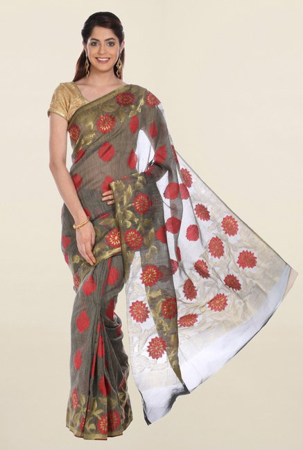 Jashn Grey Printed Saree