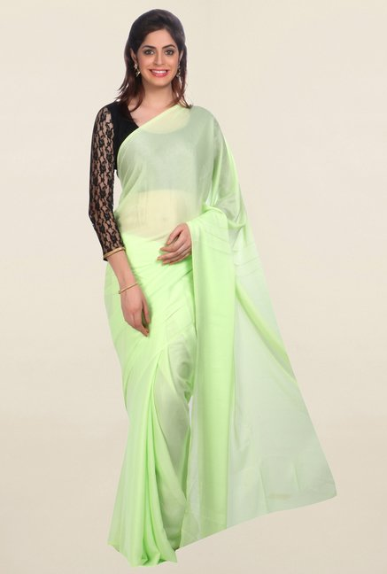 Jashn Green Solid Saree