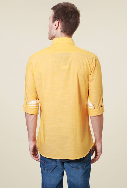Van Heusen Yellow Full Sleeves Cotton Shirt