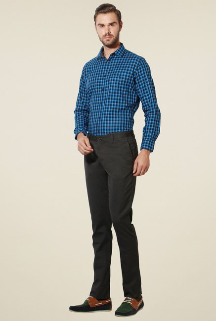Van Heusen Aqua Blue & Black Slim Fit Checks Shirt