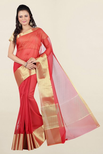 Jashn Red Solid Chanderi Saree