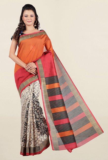 00d44bef159a40 Buy Jashn Beige   Orange Printed Tussar Silk Saree for Women Online   Tata  CLiQ