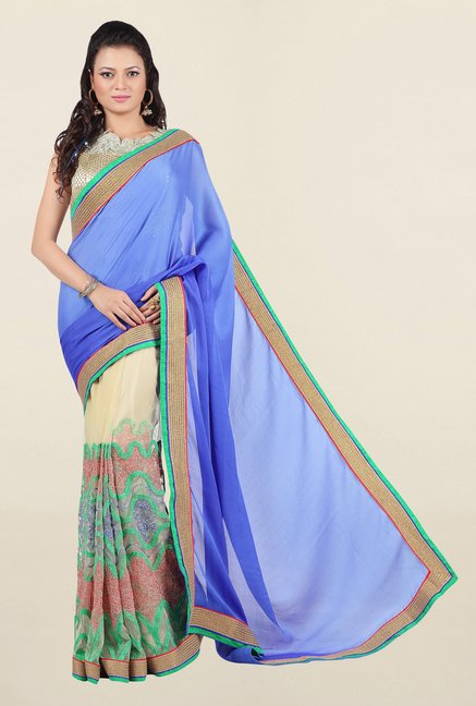 Jashn Beige & Blue Embroidered Net Saree