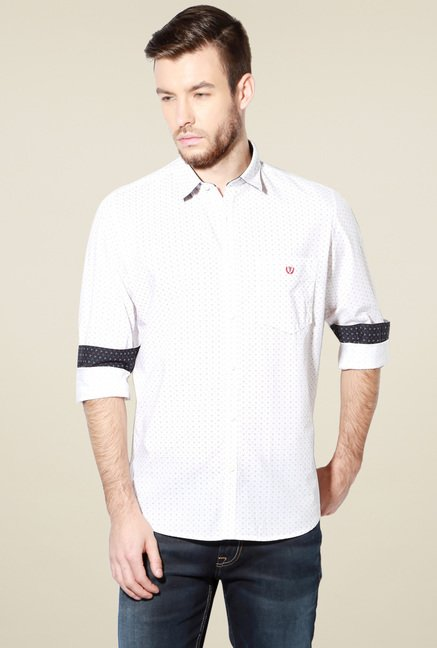 Van Heusen White Slim Fit Cotton Full Sleeves Shirt