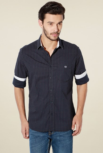 Van Heusen Navy Slim Fit Full Sleeves Cotton Shirt