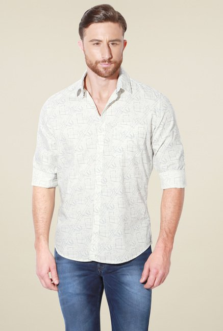 Van Heusen Off-White Slim Fit Full Sleeves Cotton Shirt