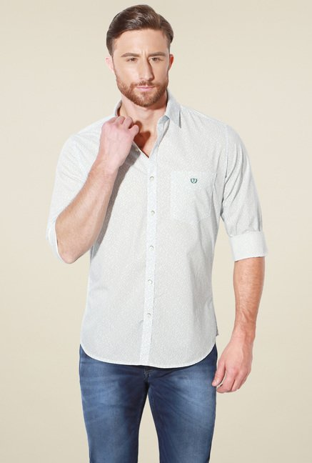 Van Heusen White Slim Fit Full Sleeves Cotton Shirt