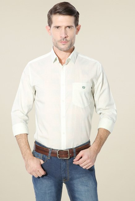Van Heusen Cream Regular Fit Full Sleeves Shirt