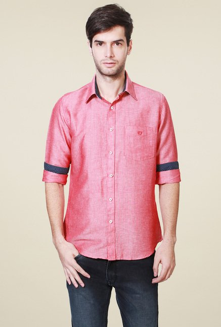 Van Heusen Pink Slim Fit Full Sleeves Shirt