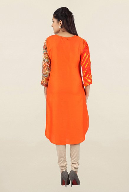 Jashn Orange Printed Cotton Tunic