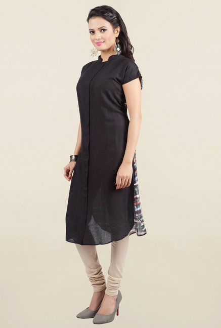 Jashn Black Solid Viscose Kurta