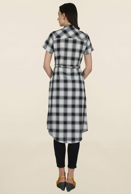 Juniper Black & Beige Checks Kurta