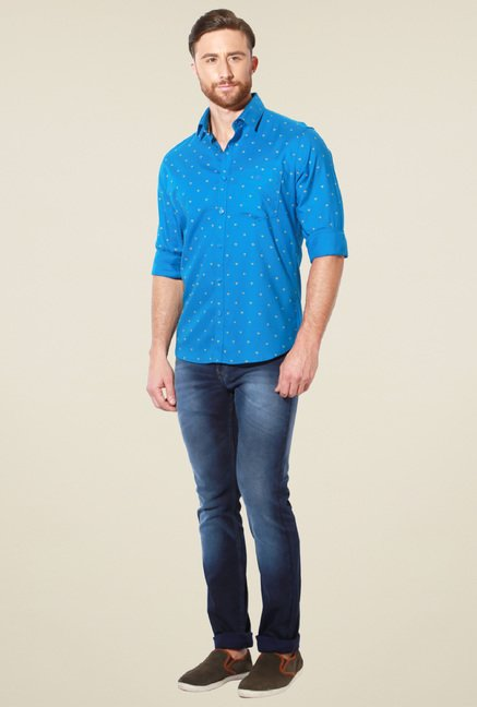 Van Heusen Blue Slim Fit Printed Cotton Shirt