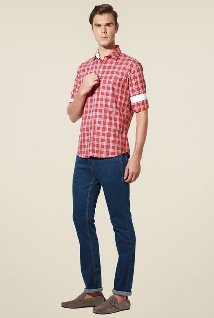 Van Heusen Red Checks Shirt