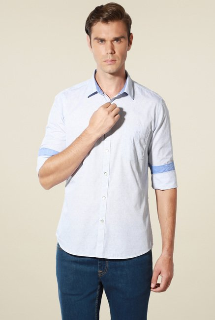 Van Heusen Baby Blue Slim Fit Checks Cotton Shirt