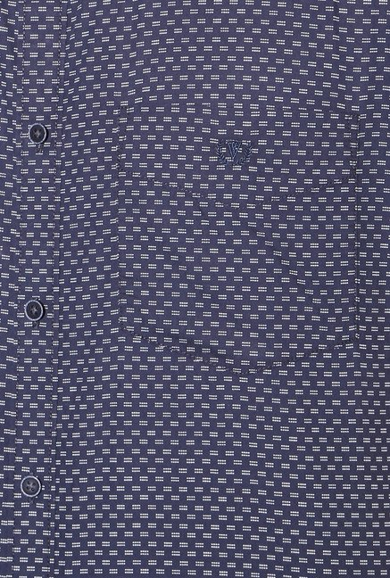 Van Heusen Navy Full Sleeves Slim Fit Cotton Shirt